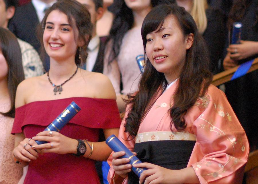 IB graduation - two girls