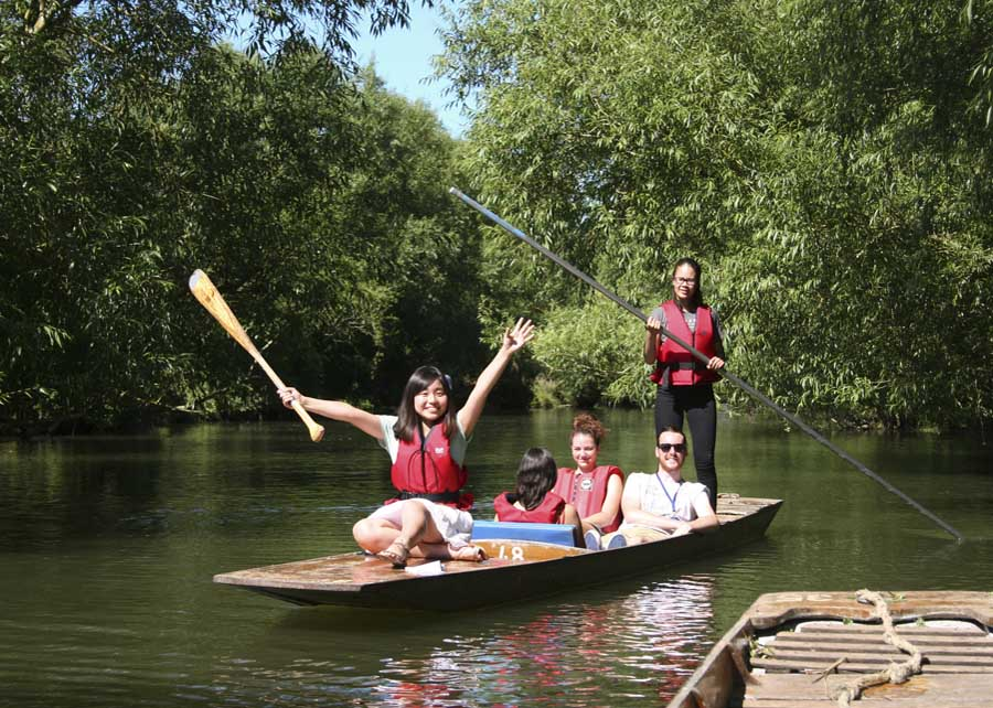 Fun in the sun punting on the river