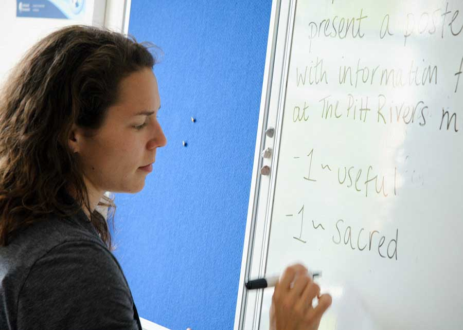teacher writing on the whiteboard in classroom